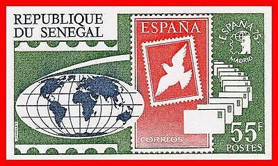 SENEGAL 1975 STAMP SHOW in SPAIN imperforated SC#410 MNH MAPS, BIRDS, DOVE