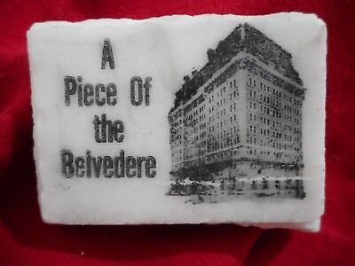 A Piece of the  BELVEDERE HOTEL Baltimore, MD Souvenir Chunk of Marble w/Picture