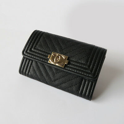 35f22724b1c7 NWOT! BOY CHANEL Caviar Chevron Flap Compact Card Holder Wallet in ...