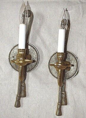 "Pair of Rope & Tassle Electric Candle Solid Brass Wall Sconces 15"" Tall"