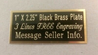 "Engraved Black Brass Plate, 1"" x 2.25"", wording, engraving plaque, award, trophy"