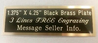 """Engraved Black Brass Plate, 1.375"""" x 4.25"""", engraving plaque, award, trophy"""