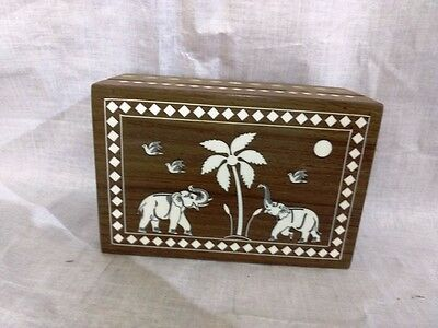Cute Trinket Box Handcarved Elephant Inlaid Rosewood Jewelry Ornament Box Wooden
