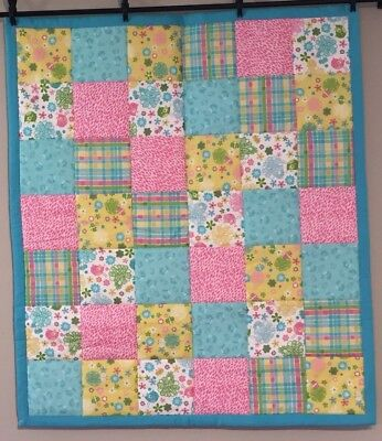 Baby Girl Baby Quilt Throw Spring Colors Birds Flowers Baby Shower Handmade NEW!