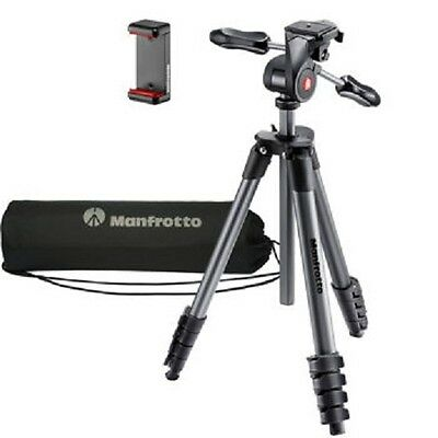 New Manfrotto Compact Advanced Tripod Max Load 6.6Lbs 3-Way Head Carry Bag 65In