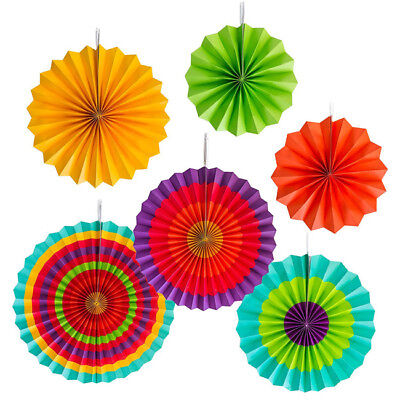 6pcs DIY Wedding Birthday Party Paper Fan Flowers Table Hanging Wall Decor 6A