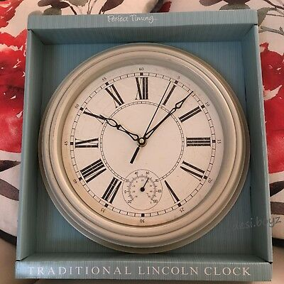 Cream Traditional Lincoln Wall Clock Roman Numeral Vintage Style Room Decoration