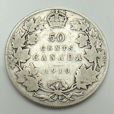 1910 Canada 50 Fifty Cents Half Dollar King Edward Canadian Circulated Coin G093