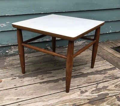 Vintage End Table Side Table BAUMRITTER MID CENTURY MODERN DANISH white top