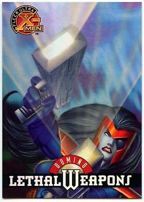 Domino #4 Of 9 X-Men Chromium Lethal Weapons Fleer Ultra 1995 Chase Card (C1402)