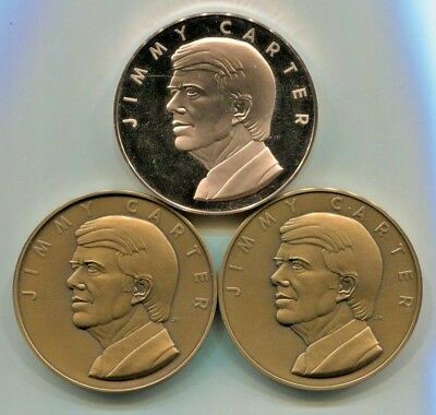 3 Medals of President Jimmy Carter 1977 Inauguration Bronze 1 Proof 2 Matte 69mm