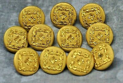 Antique Scovill Waterbury Gold Color Metal Coat Buttons Group of (11) 7/8""