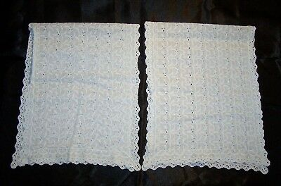 """TWO Vintage Antique Pale Green Hand Embroidered Eyelet Matching Doilies 31"""" Long"""