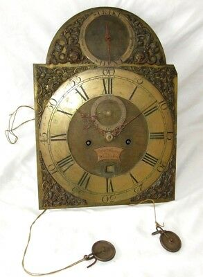 Delightful High End 18th Century Brass 8 Day Grandfather Clock Movement