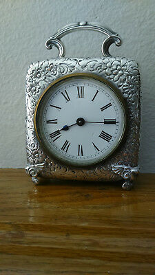 Antique Repousse Edwardian Carriage Clock Sterling Hallmarked 1900-1901 - Cool!