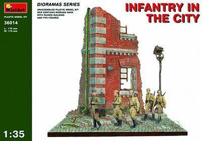Miniart 1:35 Scale Infantry in the City Diorama Plastic Model Kit (Grey)