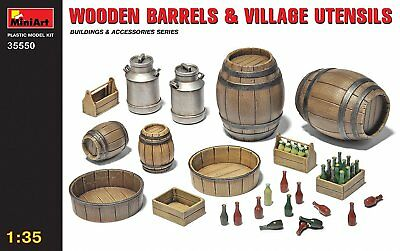 "Miniart 1:35 Scale ""Wooden Barrels & Village Utensils"" Plastic Model Kit"
