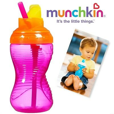 Munchkin Mighty Grip Flip Straw Cup, 10 Ounce each (PINK)