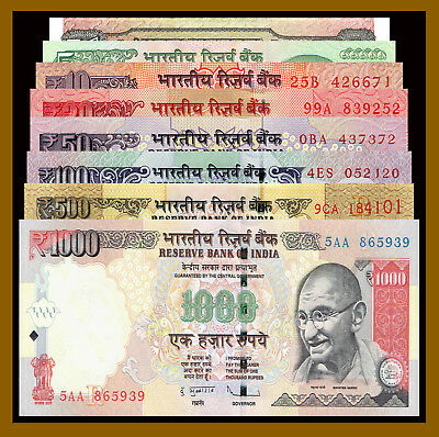 India 1 5 10 20 50 100 500 1000 Rupees (8 Pcs Set), 2002-2017 New Gandhi Unc