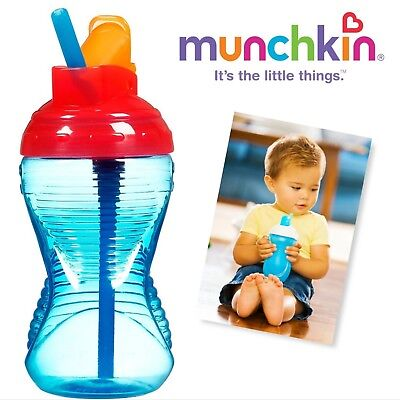 Munchkin Mighty Grip Flip Straw Cup, 10 Ounce each (BLUE)