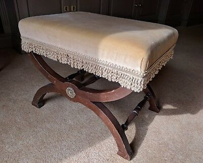 Vintage Antique Piano Stool, Yellow / Gold Upholstered Seat