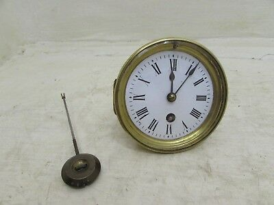 Antique Mantel Clock Movement Complete With Face, Hands & Pendulum