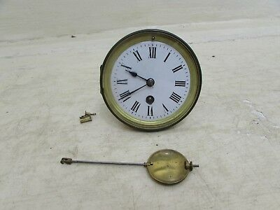 Antique Mantel Clock Movement Makers G.B Complete With Face, Hands & Pendulum
