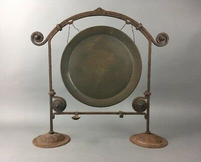 Antique German Arts & Crafts Hammered Iron Gong