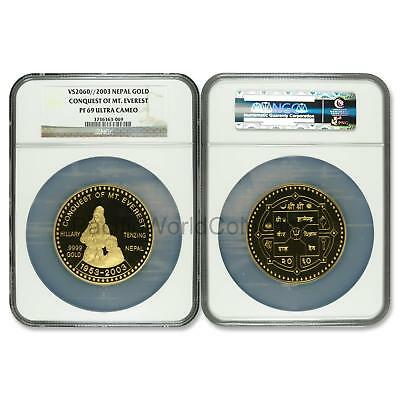 Nepal 2003 Conquest of Mt. Everest 5 oz Gold NGC PF69 ULTRA CAMEO SKU#6679