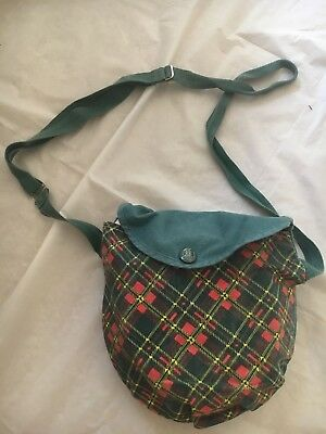 1950's Girl Scout Mess Kit with plaid cover - vintage