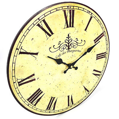 Classic French Style Cafe Wall Clock, Large, 34cm, Old Rustic Look, AA