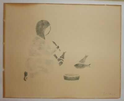 """Signed Indigenous Aboriginal Canadian Indian Cree Stenciled Picture 8"""" x 10"""""""