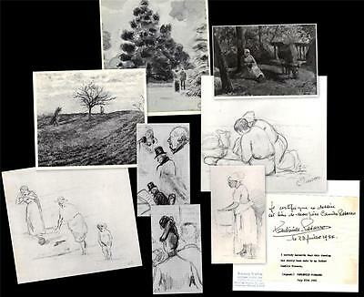 Lot of 13 Original Vintage B/W Photos of Paintings by Artist Camille Pissarro
