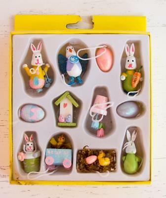 Lot/12 Mini Painted Wood Easter Ornaments Eggs Bunny Rabbit Chick Flowers Box