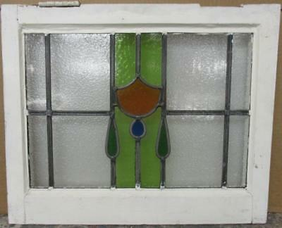 "OLD ENGLISH LEADED STAINED GLASS WINDOW Gorgeous Drop Design 21"" x 17.25"""
