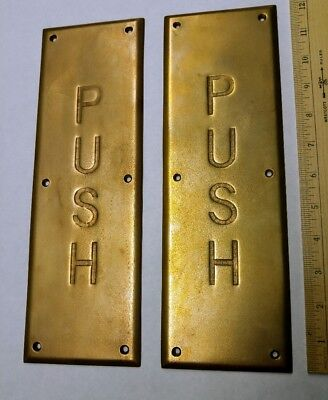 """2 Vintage Commercial Brass Matching Door Push Plates 12"""" x 3"""""""