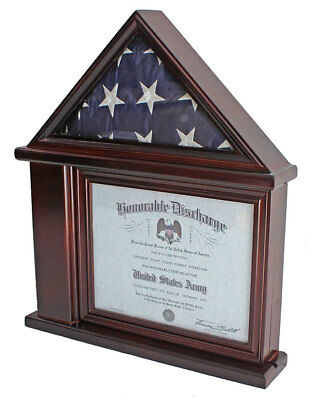 Flag Display Case Military Shadow box for 3'X5' Flag, Holds a Certificate