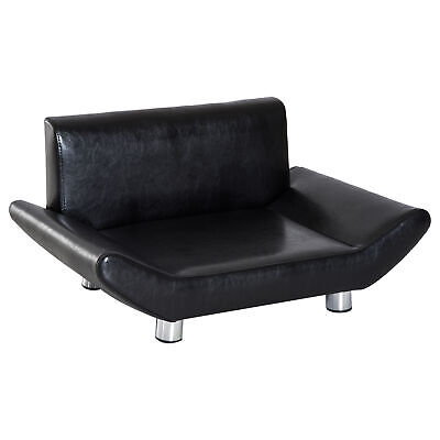 PawHut Pet Dog Cat Sofa Couch Bed Luxury Comfort Sponge Leather Wooden Frame