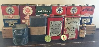 Old Vtg Antique Dupont Gun Smokeless Pistol Powder Advertising Tin Can Lot Of 13