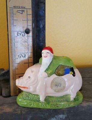 VINTAGE LUCKY LEPRECHAUN ON A PIG OF PROSPERITY Figurine Made in Ireland TOURISM