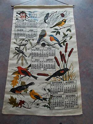 Vintage CLOTH CALENDAR TOWEL 1970 Kitchen BIRDS Nature