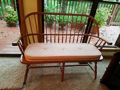 Colonial Oak Wood Farmhouse Country Spindleback Bench Pew Rustic Primitive