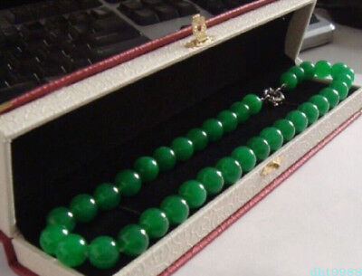 "18"" Elegant Huge 10Mm Natural Circular Aaa+++ Green Jade Beads Necklace 18Kgp"