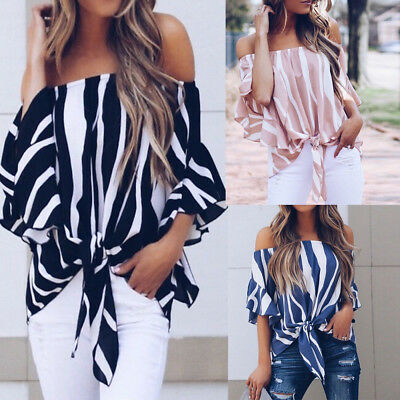 ac0262f28f6 Fashion Women's Striped 3/4 Bell Sleeve Off The Shoulder Front Tie Knot T  Shirt