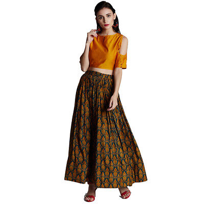 a2c980b36 Indian Women's Yellow Blouse Crop Top Muslin Long Skirt Wedding Party Wear  Dress