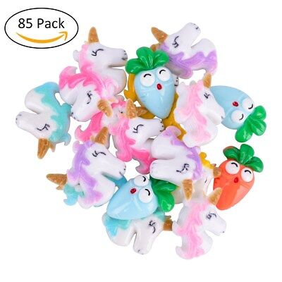 85PCS Cute Unicorn Slime Resin Lovely Ornament Flatback Multicolored Slime Beads