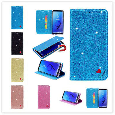 For Sumsung S8 S9Plus Fashion Bling Glitter Powder Leather Stand Flip Case Cover