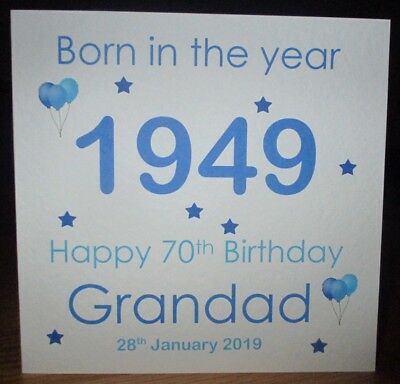 Personalised Born in the Year 1949 70th Birthday Card Available Any Year Any Age