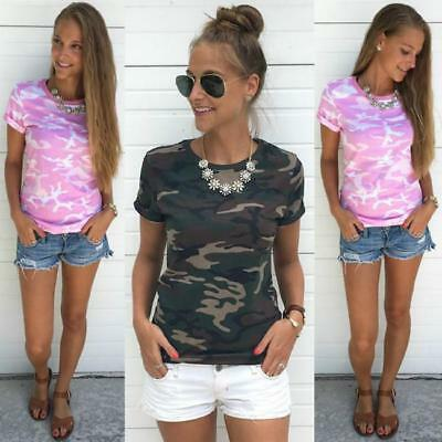Ladies Womens Army Camouflage Print Batwing Short Sleeve Oversized T Shirt 6A