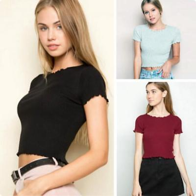 Womens Plain Ribbed Short Sleeve Scoop Neck Ladies T-Shirt Crop Top 6A